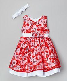 Red Floral Dress & Headband - Infant