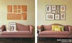 avoid lots of holes in the wall: use cheap craft paper or newspaper + low-tack painters tape to try out a wall collage.