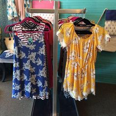 We have two of the cutest rompers! Blue is XS, S, M for $27.97 and Yellow is S, M, L for $35.99! 😍😍 #trendy #beautiful #boutique #romper #vintagedragonflyboutique