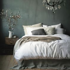 Vintage Linen White against warm grey walls