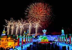 This shows the fireworks over the ice and snow festival in Hardin China.