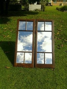 Old casement window made into a mirror