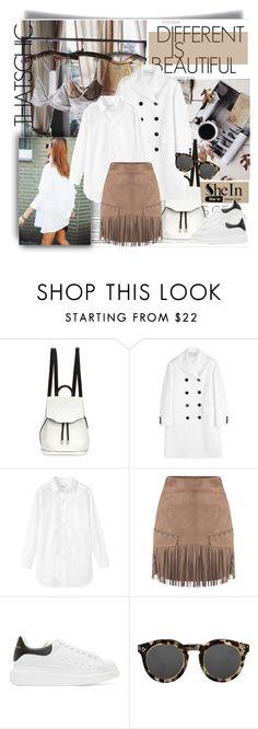 """SheIn - Camel Tassel Skirt with my boyfriend's shirt"" by stylemeup-649 ❤ liked on Polyvore featuring moda, rag & bone, Valentino, Toast, Alexander McQueen ve Illesteva"