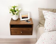 Floating Nightstand with Drawer and Open Shelf / Solid Walnut Wood Hanging Bedside Table / Scandinavian / Mid-century / Modern / Minimalist - Floating Nightstand with Drawer and Open Shelf / Walnut Wood Floating Bedside Shelf, Floating Vanity, Walnut Bedside Table, Bedside Tables, Eames, Wood Nightstand, Nightstand Plans, Bedside Drawers, Dresser