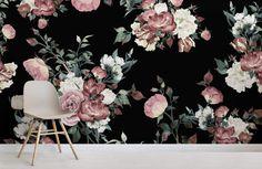 Vintage Pink and Cream Dark Floral Wall Mural - Murals Wallpaper Black Floral Wallpaper, Floral Wallpaper Phone, Flower Wallpaper, Floral Wallpapers, Cellphone Wallpaper, Rose Illustration, Vintage Flowers, Vintage Pink, Dark Flower