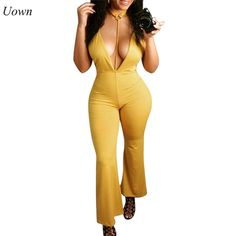 f4afd54d396 Deep V-neck Sexy Club Jumpsuits Summer Sleeveless Backless Wide Leg Pants  Bodycon Jumpsuit Sexy Rompers Overalls Women Jumpsuits