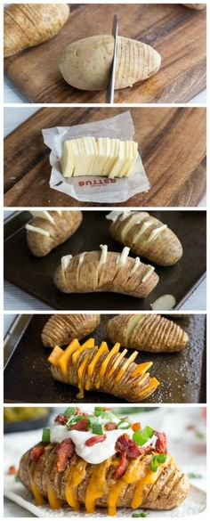 LOADED HASSELBACK POTATOES. I would leave out the meat parts to make it vegetarian and vegan friendly.