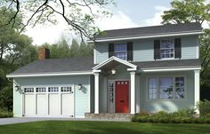 Photoshop Redo: Giving a Boxy Colonial CharmA reworked entry porch adds curb appeal and character to a no-frills facade See full details at the This Old House website. Illustration by Drawgate Inc. Home Renovation, Home Remodeling, Portico Entry, Front Entry, Front Doors, Colonial Exterior, Stucco Exterior, Porch Addition, Old Home Remodel