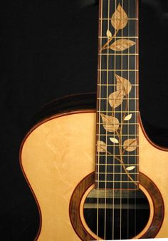 * STEHR guitars ~ acoustic guitar leaf inlay ~ Love this! Here is a link for the website > http://www.stehrguitars.com/ ~ The link below is NOT the website, just some fabricated pinterest page ...