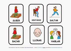 El profe y su clase de PT: Imágenes de acciones y con pictogramas Picture Boards, Kids Education, Spanish, Comics, School, Psp, Angel, Speech Therapy, Teaching Supplies