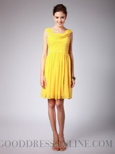 Ruffles Sheath / Column Straps Short / Mini Chiffon Bridesmaid Dresses