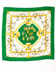 """Hermes Silk """"Les Becanes"""" Square Scarf - Hermes vintage rare Silk """"Les Becanes"""" square scarf in great condition with minimal wear. It includes Hand rolled edges 35"""" x 35"""" 100% silk twill. Does not include box.  Color: Green, White, Yellow <b> Final Sale </b>"""