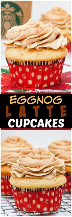 Eggnog Latte Cupcakes - a swirl of coffee frosting on an eggnog cupcake tastes like the popular coffee drink. Great recipe for Christmas parties! #eggnog #cupcakes #Christmas #holidays #eggnoglatte #coffee