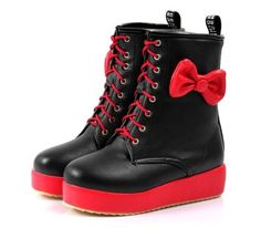 martens boots red black lace up bows bow platform shoes kawaii cute alternative emo scene rock punk rock ankle booties fake aliexpress Source by kawaii Dr. Martens, Dr Martens Stiefel, Dr Martens Boots, Emo Shoes, Rain Shoes, Sock Shoes, Cute Shoes, Me Too Shoes, Lace Up Combat Boots