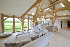 Beautiful oak framed kitchen, dining and garden room extension to large Georgian farmhouse by Leaf Garden Room Extensions, House Extensions, Barn Conversion Interiors, Oak Framed Extensions, Oak Framed Buildings, Oak Frame House, Self Build Houses, Design Your Own Home, Shop Interiors
