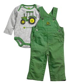 Loving this Heather Gray & Green 'Farm Days' Bodysuit & Overalls - Infant on #zulily! #zulilyfinds