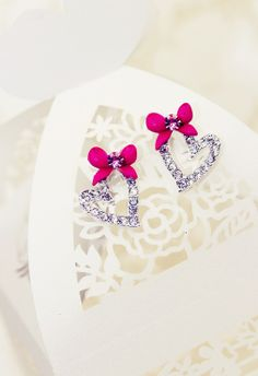 Two Hearts Beat as One Earrings in Pink $30.00 /   Enjoy worldwide FREE SHIPPING on all jewelry items! www.chasingglitters.com