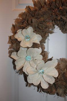 Burlap Rag Wreath with Burlap Flowers