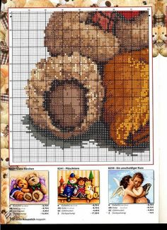 Hobby lavori femminili - ricamo - uncinetto - maglia: Schemi Orsetti Punto Croce