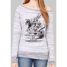 Fleece Pullover Sweatshirt Alice in Wonderland White Rabbit Graphic... ($39) ❤ liked on Polyvore featuring tops, hoodies, sweatshirts, navy, women's clothing, sweatshirt pullover, fleece sweatshirt, sweatshirt hoodies, navy sweatshirt and wide neck sweatshirt