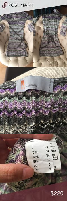 """Exquisite M Missoni dress in flawless condition This is a dreamy dress. I bought it even though it's one size too big for me. Comes with a mint green slip. The length of the slip is 17"""". The dress itself is approximately 33.5"""" and falls above the knee. You need to wear a v-neck cami underneath. The sleeves fan out slightly. Just absolutely exquisite. Italian size 40. M by Missoni Dresses Long Sleeve"""