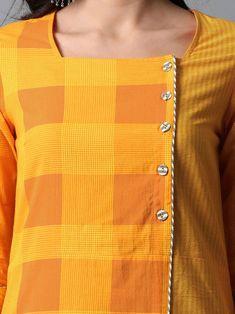 Mustard Yellow Checkered Mangalgiri Cotton Overlap Kurta - All About Neck Designs For Suits, Neckline Designs, Dress Neck Designs, Designs For Dresses, Sleeve Designs, Blouse Designs, Kurti Sleeves Design, Kurta Neck Design, Simple Kurti Designs