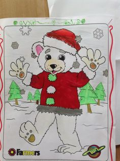 A #Christmas inspired bear colored by Poppy, 7 years old • Art My Kid Made #holidays #art #kidart