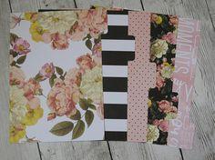 Pink Striped Floral  Floral Dividers  Planner Dividers  A5