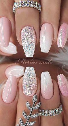 Sparkle Nail Designs, Sparkle Nails, Cute Nail Designs, Art Designs, Bright Nail Designs, Elegant Nail Designs, Beautiful Nail Designs, Designs On Nails, Nail Color Designs