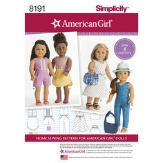 """American Girl dresses and jumpsuits for 18"""" dolls. Pattern includes jumpsuit, jumper with lace and button details, V-neck midi dress with bow details, and shorter dress with round hemline. Bag and tote also included. Simplicity sewing pattern."""