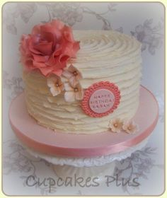 Vintage Rose ridged buttercream cake - Cake by Janice Baybutt
