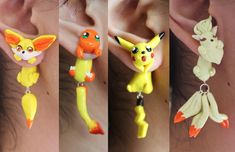 Pokemon Eevee Evolution FLAREON Character Dangle Hook Earrings with Gift Box