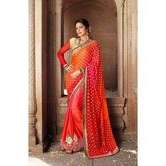 http://www.thatsend.com/shopping/lp/fvp/TESG203526/i/TE266584/iu/red-chiffon-half-and-half-saree  Red Chiffon Half And Half Saree Apparel Pattern Embroidered. Work Embroidery, Border Lace. Blouse Piece Yes. Occasion Mahendi, Sangeet. Top Color Red.