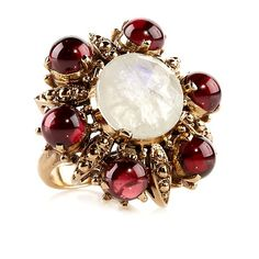Nicky Butler 6.95ct Faceted Moonstone and Garnet Ring