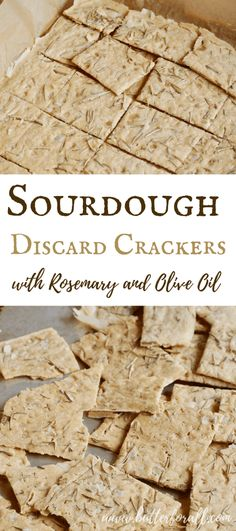 This is the easiest cracker recipe with the best results. Only four ingredients, 5 minutes of mixing and an hour of baking results in the crispiest most flavorful sourdough crackers ever! # Sourdough Discard Crackers with Rosemary and Olive Oil Sourdough Starter Discard Recipe, Sourdough Recipes, Bread Recipes, Real Food Recipes, Cooking Recipes, Starter Recipes, Cooking Pork, Amish Recipes, Gourmet