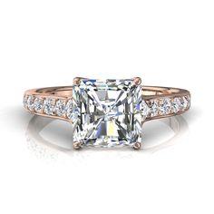Bague solitaire diamant de fiançailles diamant-carré-radiant 1,3 carats or rose Cindirella-radiant      #BagueDeFiancaille #SolitaireBagueDiamant #SolitaireDiamant