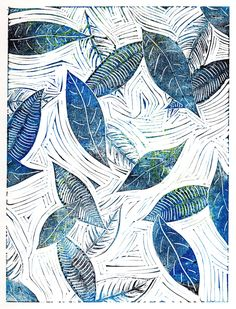 Linocut block print of falling leaves by Carrie Dennison
