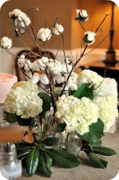 Cotton stalks with hydrangeas and magnolia leaves - cute idea for a southern wedding Magnolia Centerpiece, Floral Centerpieces, Floral Arrangements, Table Arrangements, Wedding Centerpieces, Farm Wedding, Chic Wedding, Rustic Wedding, Wedding Ideas