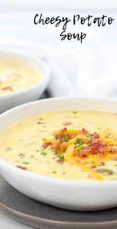 Cheesy Potato Soup, crockpot cheesy potato soup, slow cooker recipe, crockpot so. - Soups & Stews - Delicious Easy and Practical Recipes Slow Cooker Potato Soup, Loaded Potato Soup, Crock Pot Soup, Potato Rice, Velveeta Recipes, Cheesy Potato Soup Recipe Velveeta, Fall Soup Recipes, Dinner Recipes, Cheesy Potatoes