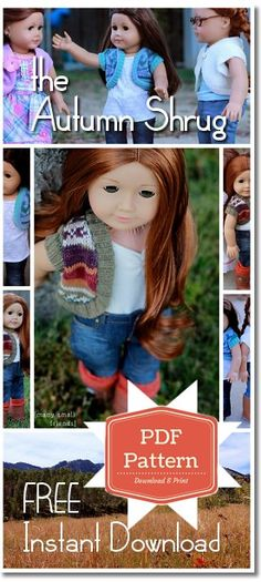 Sewing Clothes Patterns Free American Girl doll sewing pattern - Autumn shrug made from upcycled sweater. Fast and easy doll craft for 18 inch dolls! Sewing Doll Clothes, Crochet Doll Clothes, Sewing Dolls, Knitted Dolls, Girl Doll Clothes, Girl Dolls, Ag Dolls, American Girl Crochet, American Girl Crafts