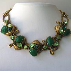 Vtg 1950s Haute Couture Chrysoprase Glass Peridot Rhinestone 125g Necklace