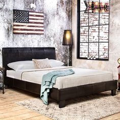 Furniture of America Villazo Espresso Padded Leatherette Platform Bed - Overstock™ Shopping - Great Deals on Furniture of America Beds