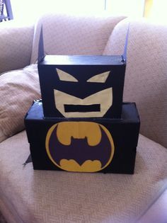 Casonu0027s Batman Valentine Mailbox! Made From Cereal And Shoes Boxes.