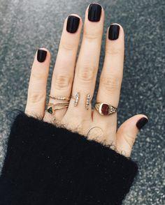 black nails, black polish, matte black, beauty nails, rings on Black Polish, Black Nails, Matte Black, Piercings, Nail Lacquer, Nail Polish, Cute Nails, Pretty Nails, Hair And Nails