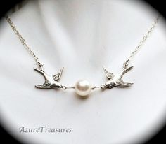 Victorian Love Birds Necklace, Pearl and Sparrow Necklace Sterling Silver Romantic Vintage Style Wedding, Bridal, Bridesmaids Jewelry. $32.00, via Etsy.
