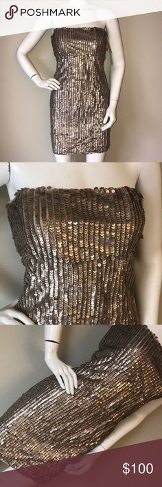 Alice+Olivia beaded gold sparkle strapless dress This is a stunning Alice+Olivia gold beaded sparkle strapless dress size8 it has some beads missing as seen in picture but it comes with extras so you can put them back Alice + Olivia Dresses Strapless