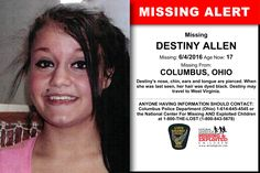DESTINY ALLEN, Age Now: 17, Missing: 06/04/2016. Missing From COLUMBUS, OH. ANYONE HAVING INFORMATION SHOULD CONTACT: Columbus Police Department (Ohio) 1-614-645-4545.