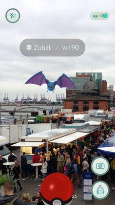 Der alternative Fotospaziergang in #Hamburg mit #PokemonGo. Zubat auf dem Hamburger Fischmarkt. Mit der neuen virtuellen Welt, lernt man eine Stadt noch einmal ganz neu kennen.