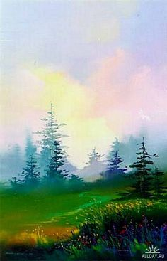 Lahaina Galleries - Fine Art Galleries & Online - Dawn by Thomas Leung Watercolor Pictures, Watercolor Landscape Paintings, Watercolor Trees, Easy Watercolor, Landscape Art, Watercolor Artists, Abstract Paintings, Art Paintings, Academic Drawing