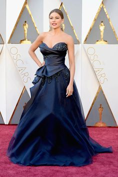 46f81549763 Sofia Vergara navy ball gown at Oscars 2016 red carpet. Strapless  embroidered navy satin and tulle celebrity ball gown prom dress.